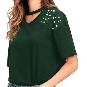 Tops - Green top with pearls